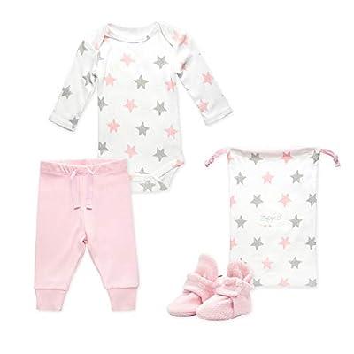Zutano Baby Booties Gift Set, Stars 3pc, Baby Pink, 6M