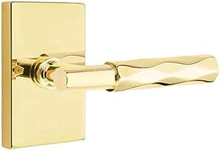 Emtek Select Privacy, Modern Rectangular Rosette, T-Bar Stem, Tribeca Lever, Unlacquered Brass, RH