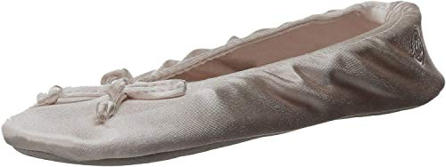 isotoner Women's Satin Ballerina Slipper with Bow, Suede Sole, Sand Trap, Small / 5-6 Regular US