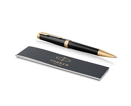 Parker Premier 1931412 - Bolígrafo (lacado en negro profundo con adorno dorado, punta media y recambio de tinta negra)