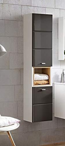 Jadella hoge kast 'Fina grijs' badkamerkast wit grijs hoogglans