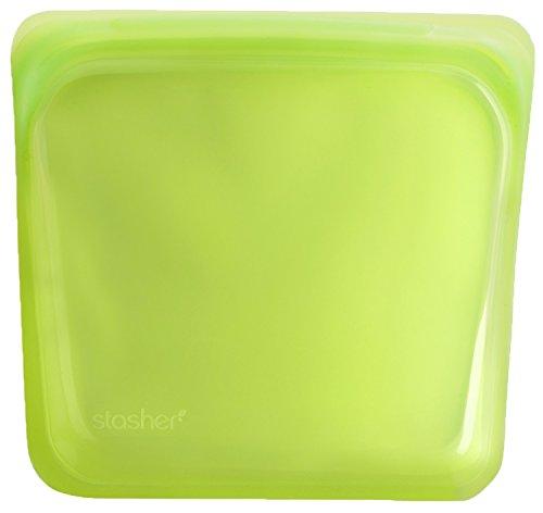 Stasher, Sacchetto in Silicone Riutilizzabile di Grado Alimentare, Silicone, Lime Green, Sandwich/Medium