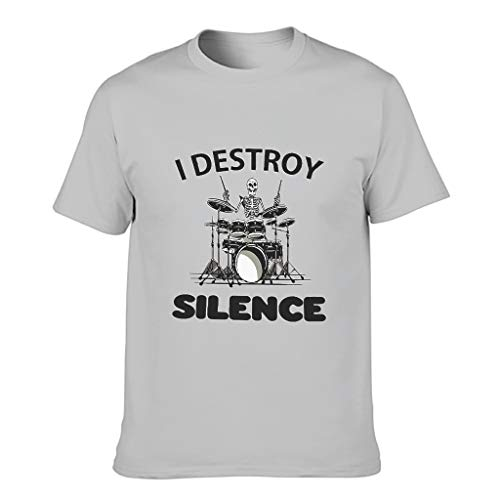 STELULI Camiseta de algodón para hombre I Destroy Silence Cool Individuality -Alfabeto Tops