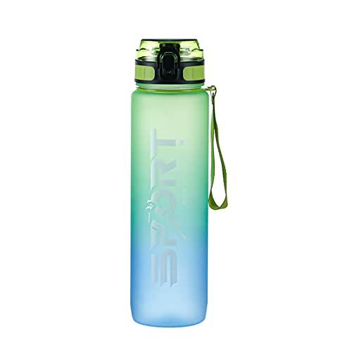 HNGM Botella de Agua Deportiva 1L Botella Deportiva Botella de Agua Botella de Agua Viaje al Aire Libre Portátil Portátil A Prueba de Fugas Bebida Vidrio Hogar Plastic Fitness Glass Sin BPA