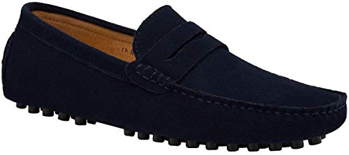 JIONS Men's Driving Penny Loafers Suede Driver Moccasins Slip On Flats Shoes Low Top Slip-ons A- Blue 6.5 D(M) US/EU 38