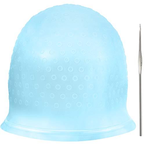 Chapeau de Coloration en silicone Chapeau de Cheveux Soulignant Réutilisable Chapeau de Coloration de Cheveux Dye de Salon avec Crochets pour Teinture des Cheveux de Femmes(Bleu)