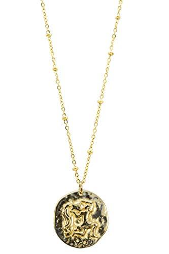 Ittû - Collar para mujer con signo astrológico, joya dorada de acero inoxidable, 12 signos del zodiaco, colgante martillado [tamaño de 38 a 45 cm] (jarra)