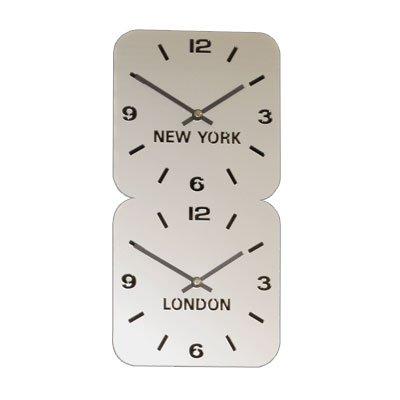 Large Horloge Acrylique Fuseaux Horaires Argent (H24.5cm x L49cm Double Verticale)