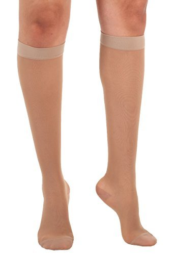 Absolute Support Sheer Compression Stockings for Women - Knee High 15-20mmHg Graduated Support - Natural Size Medium