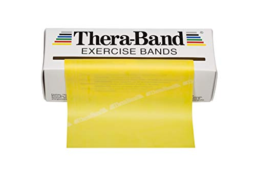TheraBand Resistance Bands, 6 Yard Roll Professional Latex Elastic Band For Upper Body, Lower Body, & Core Exercise, Physical Therapy, Pilates, Home Workouts, & Rehab, Yellow, Thin, Beginner Level 2