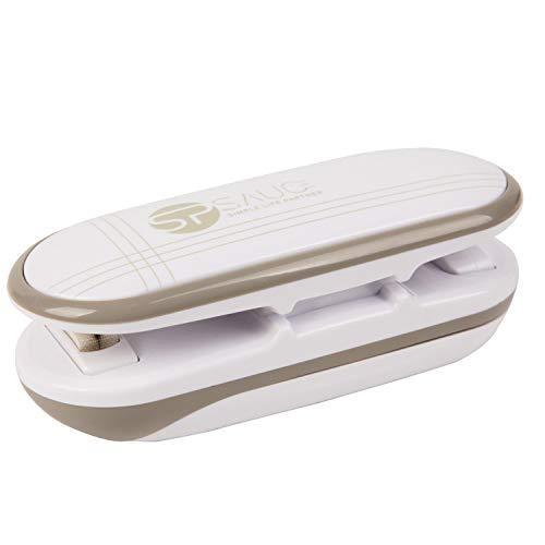 Folienschweißgerät Mini Bag Sealer 2 in 1 Tüten Schneiden und Verschließen Handlicher Heißsiegelmaschine Leicht Klein Passend für jedes Plastikbeutel-Material (ohne Batterie)