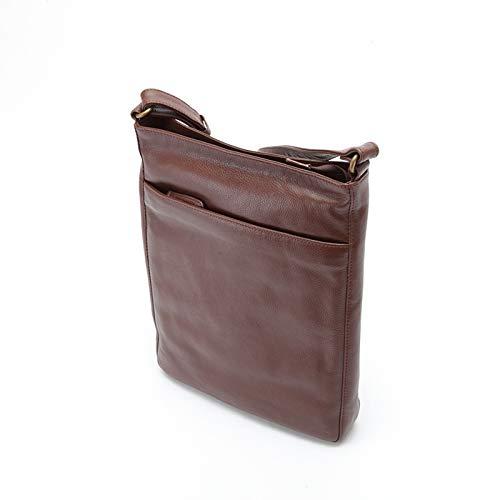 平野鞄 ショルダーバッグ 本革 メンズ 斜めがけ 牛革 肩掛け オイルレザー ビジネス 旅行 A4 縦型 34cm +オリジナル高級ムートングローブ (チョコ)
