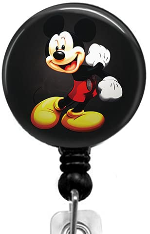 Cute Mickey Mouse Retractable ID Card Badge Holder with Alligator Clip, Medical Nurse Badge ID, Office Employee Name Badge