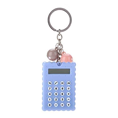 Draagbare mini-zakrekenmachine met kleurrijke kralen, modieuze mini-rekenmachine, compatibel met 8-bits display / sleutelhanger / creatieve kleur / siliconenknop voor collega's / kinderen / vrienden (Gray Lisa)