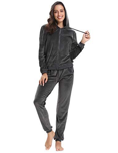 Abollria Damen Hausanzug Velours Trainingsanzug mit Samtoptik Kapuzejacke mit Reißverschluss Hose, Grau, Gr.- XXL