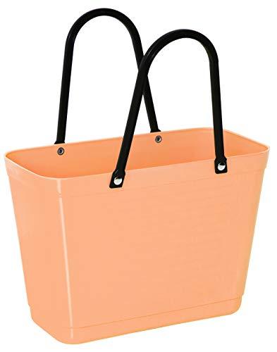 Hinza Bolsa de plástico pequeña de 7,5 l, color albaricoque, con asa, 38 x 32 x 15 cm, plástico, para la compra, sin BPA, apilable, diseño Swedish