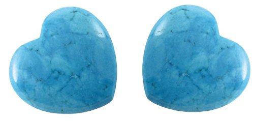 Edelstein Türkis Herz, 3 cm, 2 Stück / Edelsteinherz Steinherz blau grau