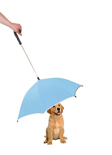PET LIFE Pour-Protection Rain Pet Dog Umbrella with Reflective Lining and Leash Connector, One Size, Light Blue with Black Handle