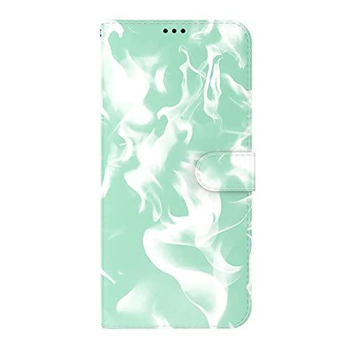 JZ Cloud Pattern Design Funda For para Moto G9 Plus Cash Credit Card Holder Stand Magnetic Wallet Protective Flip Cover For para Motorola Moto G9 Plus - Mint Green