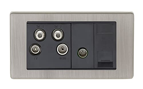 2 Gang Quadplex Tv & Slave Modules Concealed Satin Nickel Plate Black Interior