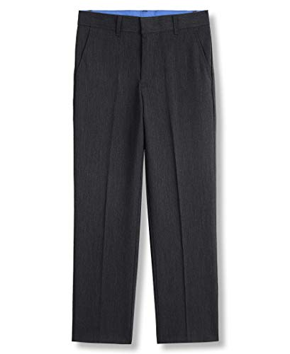 IZOD Boys' Toddler Bi-Stretch Flat Front Dress Pant, Charcoal Heather, 2T