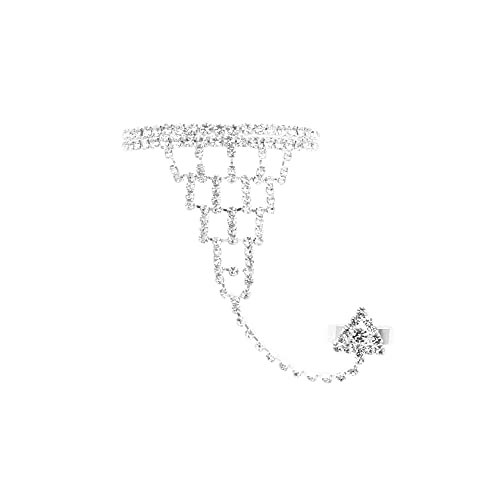 JSEA 637-Womens Rhinestone Hand Harness Bracelet Slave Chain Bracelet with Finger Ring Bracelet Silver tone