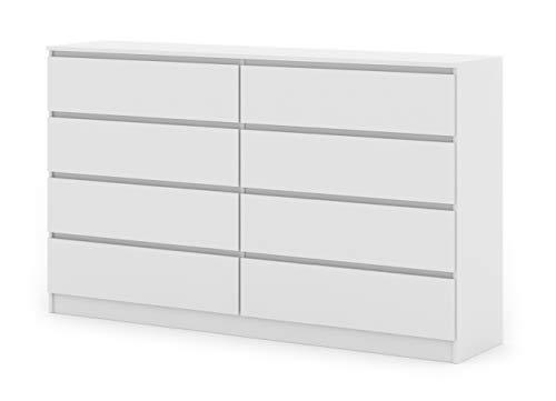 BIM Furniture Cómoda con 8 cajones Maya M8, 140 cm, aparador alto, armario multiusos, dormitorio, salón, color blanco mate