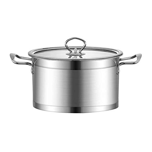 Braising Pans -30.8cm,Stock Pot, Stainless Steel Soup Pot Cooking Pot with Glass Lid, Stockpot with Heat-Proof Double Handles, Easy Clean KaiKai