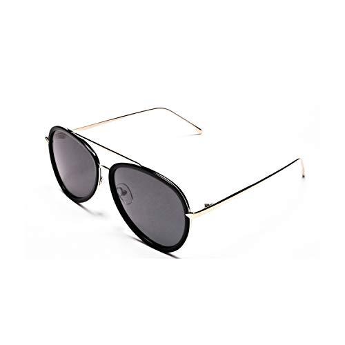 Gafas de sol de aviador negro y gris, polarizadas clásico piloto con espejo UV400 protección para conducción con marco de metal premium para hombres y mujeres