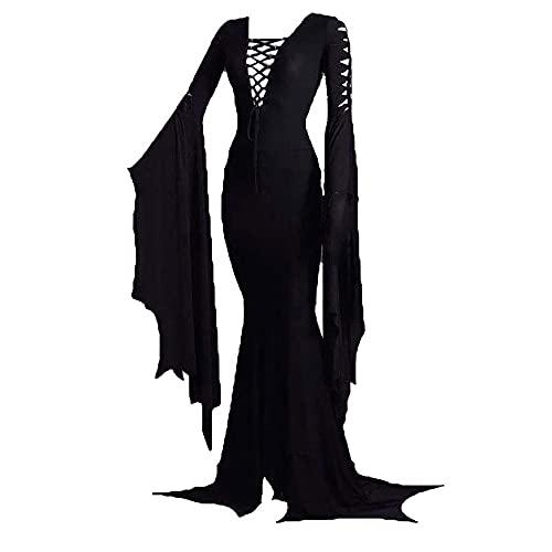 HonorBoard Morticia Addams Vestido de Piso Disfraz, Vestido de Vendimia gótica Sexy de Las Mujeres para el Partido de Carnaval de Halloween Tallas Grandes