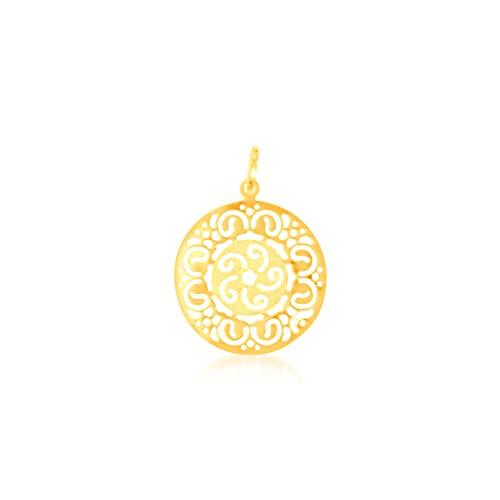 Colgante de oro amarillo de 9 quilates, medalla calada, 26/26 mm, peso: 1,18 g.