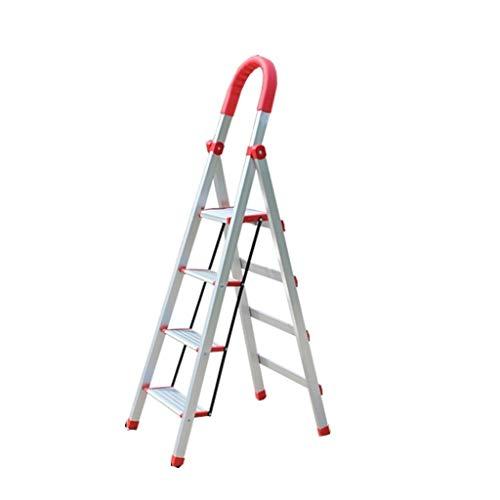 QFF Engrosamiento de aleación de aluminio Escalera, La escalera del hogar metálico plegable al aire libre Escalera Fotografía/Se utiliza en múltiples escenarios doblez (Size : 42 * 63 * 134CM)