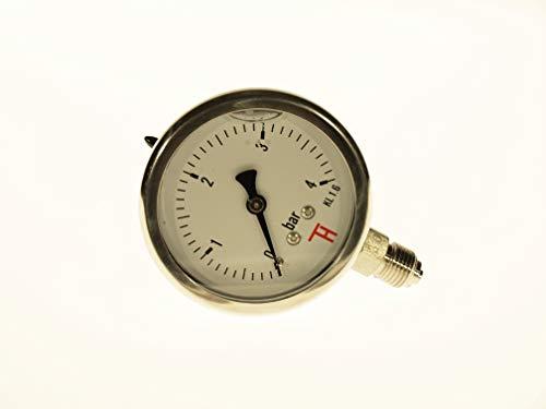 THERMIS Manometro in acciaio inox (0 – 4 bar) con penna Bourdon connettore dal basso 63 mm 304CHG
