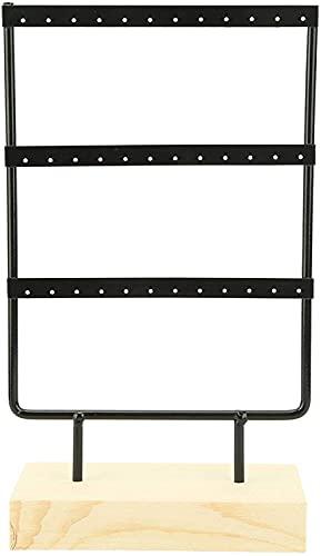 RosieLily 36 Orificios De La Joyería De Metal Almacenamiento De La Exhibición De La Exhibición De Los Pendientes Organizador del Collar con La Base De Madera(Color:Negro)