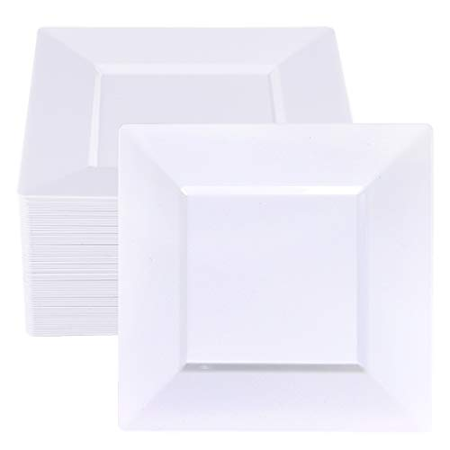 BUCLA 60Pieces White Plastic Plates - 9.5inch White Square Disposable Plates- Premium Hard Plastic Dinner Plates for Weddings& Parties