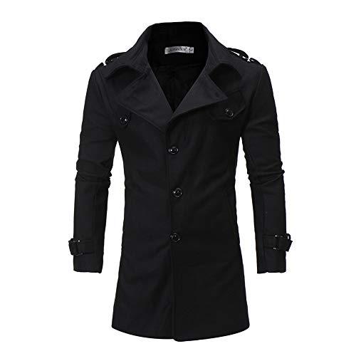 ALIKEEY Herren Herbst Winter Jacke Mit Kapuze Knopf Trenchcoat Jacke Langarm Outwear Bluse M Schwarz