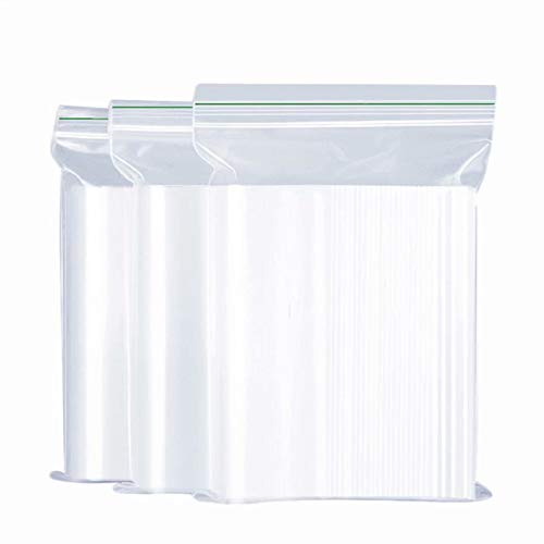 AhGuwa - Bolsas plásticos Transparentes, Bolsas Zip, Bolsas plasticos autocierre, Bolsas Reutilizables, Bolsas congelaciones, Bolsas para Joyas, Fruto seco,16X25cm, 100 pcs
