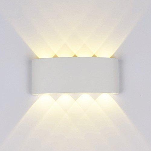 Wandleuchte Led Modern,8W Led Wandlampe Aluminium Leuchten Wandlicht Wasserdichte IP65 Design Aussenleuchte Up Down Wandbeleuchtung 3000K Warmweiß (Weiß)