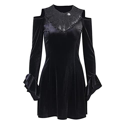 Vestidos de Mujer Negro Gótico Lolita Vestido Estético Elegante Vestido Sexy Encaje...
