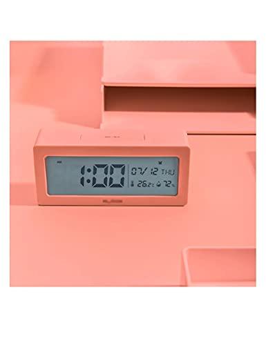 Reloj de Alarma electrónico, luz de Noche LED Temperatura y Humedad Regulable Mute Reloj de Alarma portátil, para niños Estudio niños (Color : Pink)
