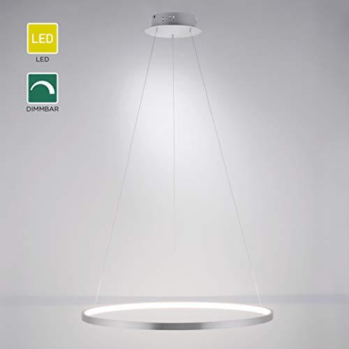 LED Pendelleuchte dimmbar, 120 x 60cmØ | Moderne Ring-Hängeleuchte mit warmweißer Lichtfarbe & Memory-Funktion | silberne Pendellampe mit LED Leuchtring für Wohnzimmer, Küche und Esszimmer