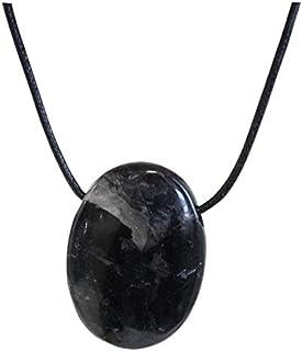 Pendentif pierre ovale percee - tourmaline noire