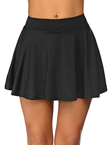 COOrun Womens Pleated Tennis Skirts with Shorts and Pockets Athletic Skort for Golf Sport Running Workout(Black,S)