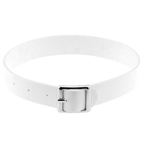 Bigood Womens Collar Choker Punk Buckle PU Leather Necklace Jewelry White