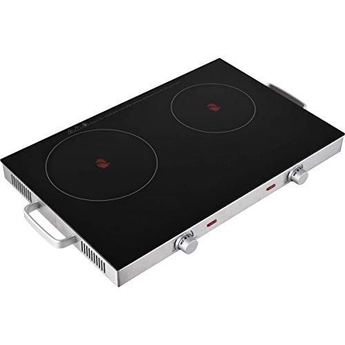Team Kalorik TKG DCKP 1001 glaskeramische dubbele kookplaat, 2800 watt, roestvrij staal, kunststof, zwart Doppelkochplatte zwart/roestvrij staal.