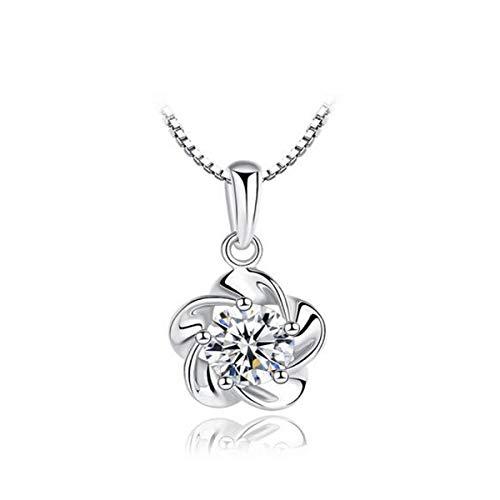 Hnd Collar, señoras s925 collar de plata, elegante y sencillo colgante de la cadena de clavícula de cinco pétalos de flores y accesorios de óxido de circonio cuadrados como un regalo for el cumpleaños