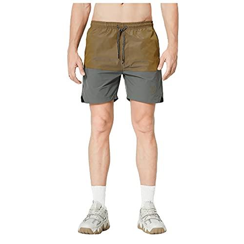 QUNLING Pantalones cortos de deporte de cinco puntos, para hombre, de secado rápido, para correr, gimnasio, entrenamiento, Mujer, Verde militar., medium