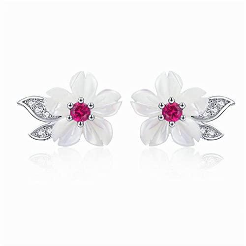 OTXA Pendientes de Tachuelas de Flores 925 Plata Transparente CZ Elegantes Pendientes Pequeños Damas Exquisita Joyería