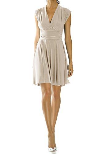 bestyledberlin Damen Kleider, Sommerkleid, Trägerkleid k07p-y beige, S/M