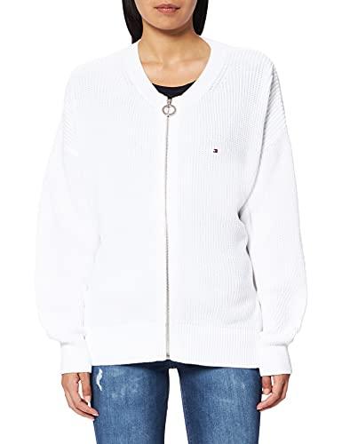 Tommy Hilfiger HAYANA Zip UP C-NK Cardigan Suéter, Crudo, XL para Mujer